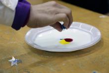 Observamos que la alta tensión superficial del colorante líquido los deja con una forma de gota compacta.